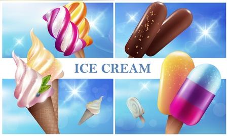 Colorful realistic ice cream composition Ilustracja