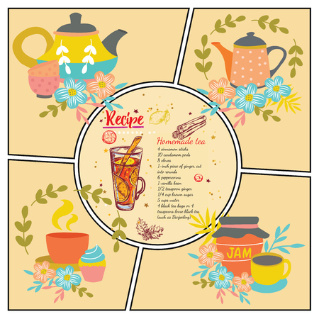 Hand drawn tea recipe composition with teapots cups bowls leaves flowers and jar of jam vector illustration