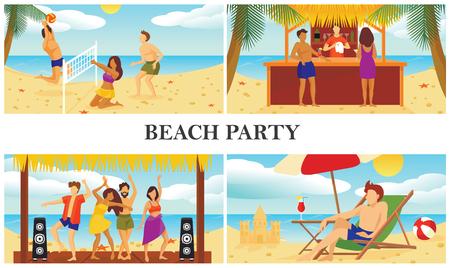 Flat summer beach vacation composition Stock Illustratie