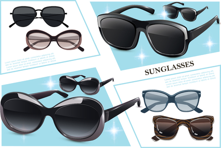 Stylish fashionable sunglasses composition with modern elegant eyeglasses of different shapes vector illustration