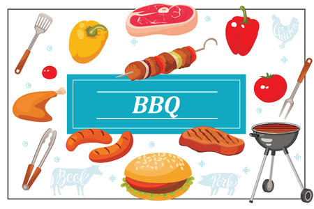 Flat bbq party colorful template