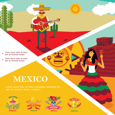 Flat Mexico colorful template with man playing guitar in desert woman dancing on Aztec pyramid landscape and Welcome To Mexico emblems vector illustration