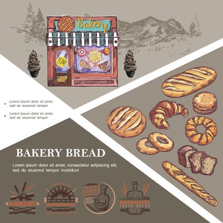 Sketch baking products template 向量圖像