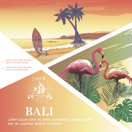 Sketch Bali vacation template with flamingos monstera and palm leaves tropical beach