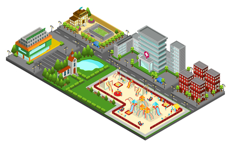 Isometric cityscape concept with kids playground lake hospital church school supermarket living buildings isolated vector illustration Illustration