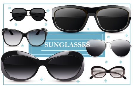 Modern stylish sunglasses concept with eyeglasses of different shapes in realistic style