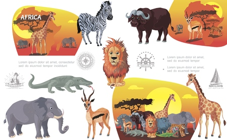 Cartoon african savannah animals composition with different wild mammals and reptiles vector illustration Illustration