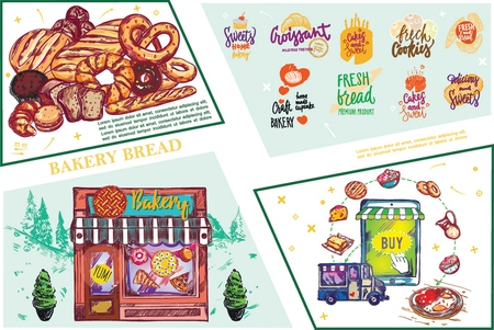 Sketch baking elements composition with bread croissant bagel buns pretzel donut colorful bakery labels store and online shop vector illustration