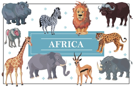 Cartoon african animals template Иллюстрация