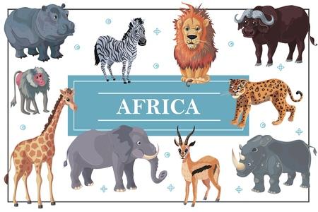 Cartoon african animals template Illustration