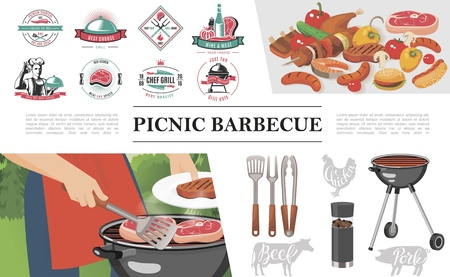 Flat bbq party concept