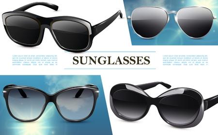 Modern stylish sunglasses light concept with fashionable eyeglasses in realistic style vector illustration Ilustracja