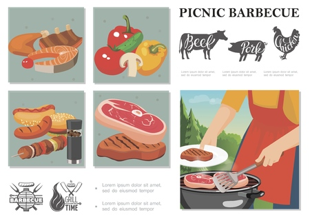 Flat weekend picnic composition with man cooking steak on barbecue cow pig chicken silhouettes vegetables sausages meat burger vector illustration Archivio Fotografico - 128174582