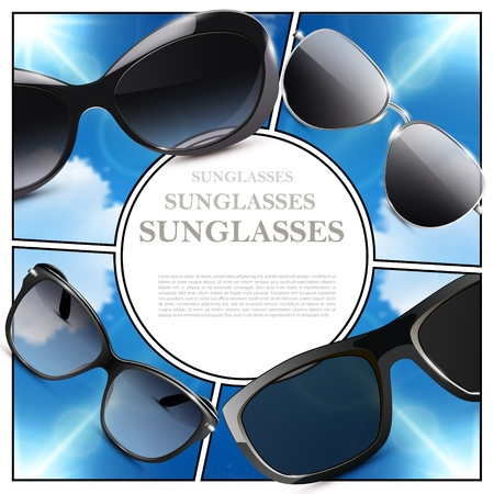 Realistic modern sunglasses composition with place for text and fashionable eyeglasses on blue sky backgrounds vector illustration