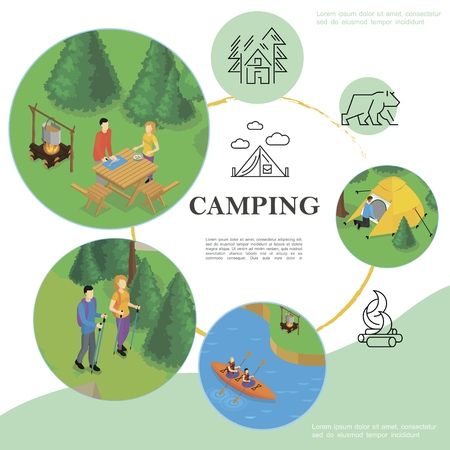 Isometric travel and tourism template with kayaking camping hiking tent forest bear campfire linear icons vector illustration