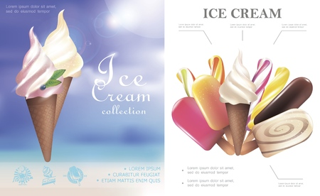 Realistic ice cream concept with lollipops popsicle tasty ice creams in waffle cones and on stick