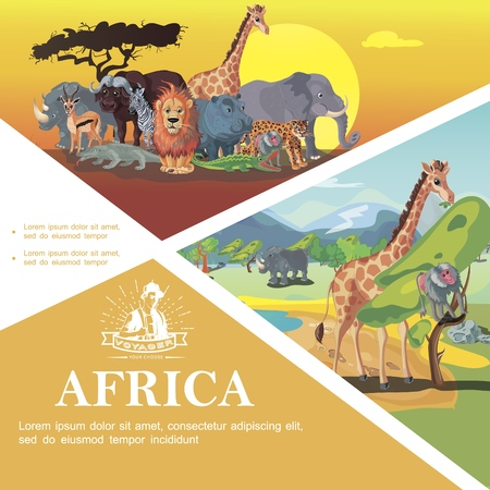 Cartoon Travel To Africa colorful template with african animals on savannah nature landscape vector illustration Illustration