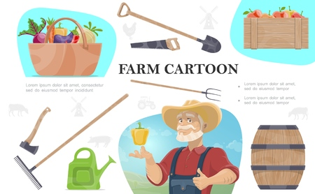 Cartoon farming composition with farmer ax shovel rake pitchfork watering can saw wooden barrel basket of vegetables and crate of apples Banque d'images - 124154596
