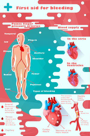 Colorful medical care infographic concept with different types of bleeding and human heart anatomy vector illustration Illustration
