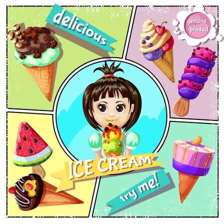 Cartoon ice cream concept with icecreams of different sorts and design and girl holding tasty ice cream vector illustration