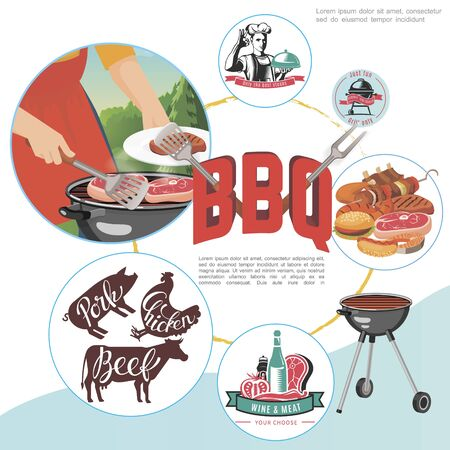 Colorful flat bbq party concept with man cooking steak on barbecue vegetables burger hot dog and different picnic labels vector illustration Foto de archivo - 128174588