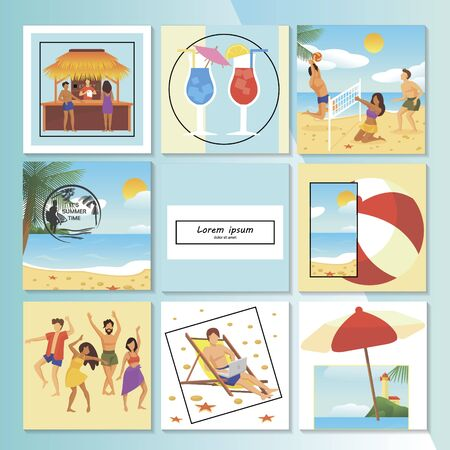 Flat summer vacation composition with beach bar volleyball umbrella palm trees cocktails people dancing and sunbathing vector illustration