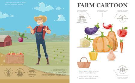 Cartoon farming colorful concept with eggplant radish pumpkin apple carrot pepper pear and farmer on farm landscape vector illustration