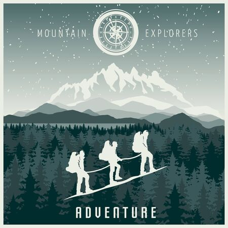 Mountain explorers poster in white blue color with climbing team and rocks forest in background vector illustration Illustration