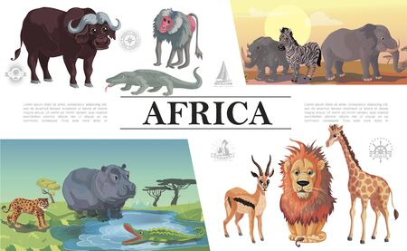 Cartoon african animals composition with buffalo monitor lizard monkey zebra elephant rhino leopard hippo antelope crocodile lion giraffe vector illustration