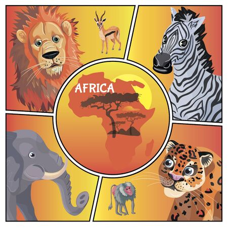 Cartoon african animals concept with lion antelope zebra elephant leopard monkey and Africa map isolated vector illustration