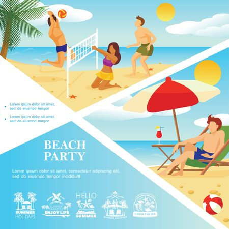 Flat beach vacation template with summer holidays emblems man sunbathing and people playing volleyball on sand beach vector illustration