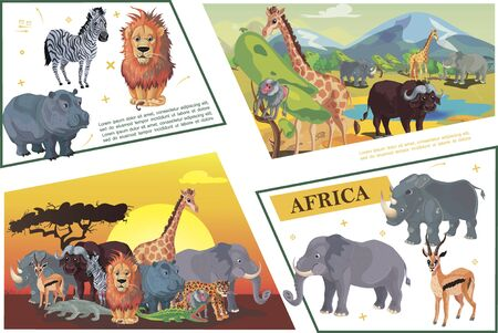 Cartoon african safari concept with zebra lion hippo giraffe buffalo antelope leopard crocodile rhino elephant monkey monitor lizard vector illustration Иллюстрация