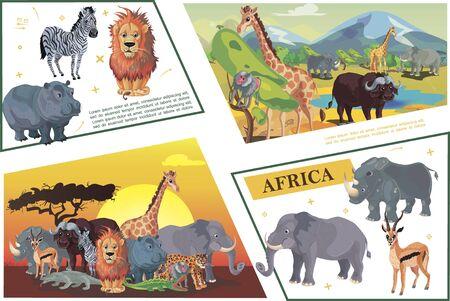 Cartoon african safari concept with zebra lion hippo giraffe buffalo antelope leopard crocodile rhino elephant monkey monitor lizard vector illustration Illustration