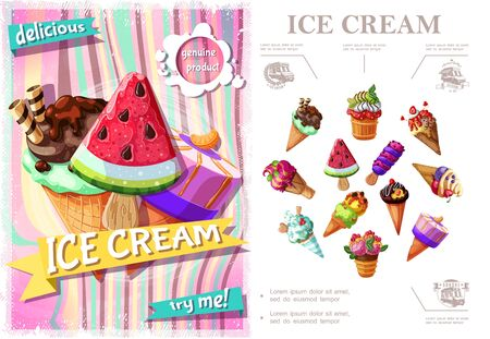 Fresh ice cream colorful concept with icecreams of different sorts and flavors in cartoon style vector illustration