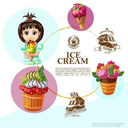 Cartoon summer cold desserts template with colorful tasty icecreams girl holding ice cream and monochrome street truck emblems vector illustration