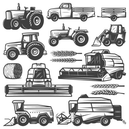 Vintage harvesting transport collection with truck tractors loader combines harvesters hay bale wheat ears isolated vector illustration