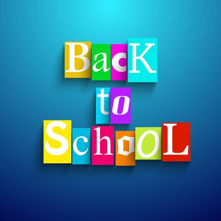 Cartoon back to school composition with square letters combined in headline with shadows vector illustration Çizim