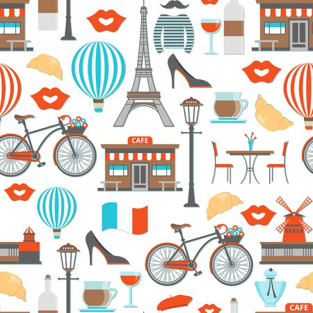 Paris seamless pattern including eiffel tower cafe and famous cabaret street lights on white background vector illustration Illustration