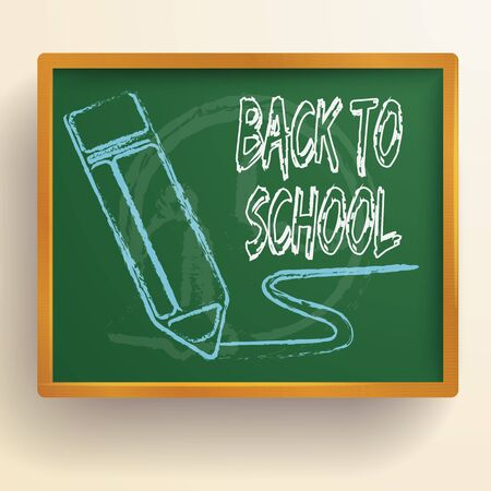 School chalkboard background with wooden frame and decorative drawn image of pencil with back to school vector illustration Ilustracja