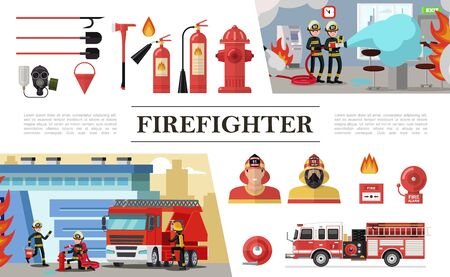 Flat firefighting elements composition with rescue brigades shovels gas mask fire hose hydrant extinguishers bucket firemen truck alarm bell vector illustration