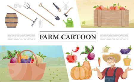 Buntes Konzept der Karikaturlandwirtschaft Vektorgrafik