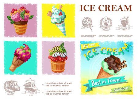 Cartoon fresh cold desserts composition
