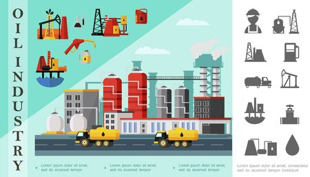 Flat oil industry concept with fuel trucks near petrochemical plant oil derrick drilling rig canisters gas station pump and petroleum monochrome icons vector illustration Zdjęcie Seryjne - 128174610
