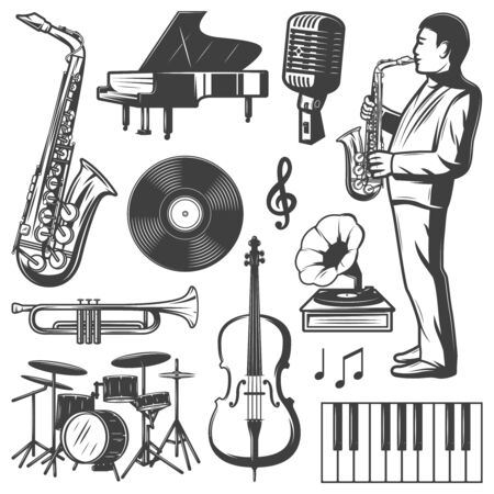 Vintage jazz music elements collection with musician saxophone piano drums microphone gramophone violin trumpet vinyl isolated vector illustration