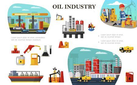 Flat oil industry concept Illustration
