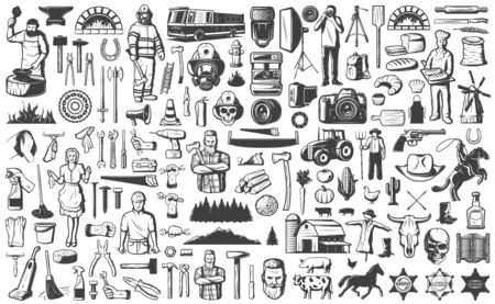 Vintage people professions elements set with blacksmith firefighter photographer baker farmer maid builder repairman tools and equipment isolated vector illustration Banque d'images - 128174613