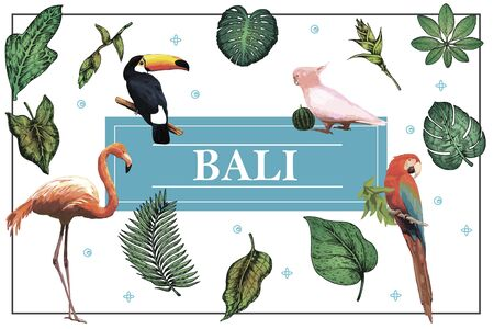 Hand drawn Bali bright concept 向量圖像