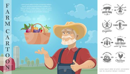 Cartoon farming colorful concept with farmer basket of vegetables and farm monochrome design badges vector illustration