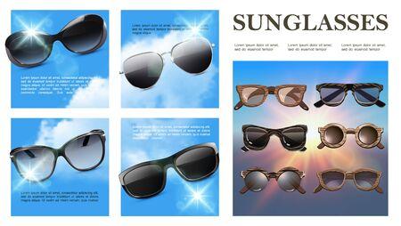 Realistic sunglasses colorful composition