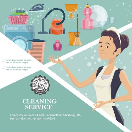 Cartoon cleaning service template with maid washer clean plate glasses iron basket of towels vector illustration